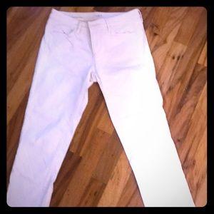 LOFT 4P Off White Denim Cuffed Crop
